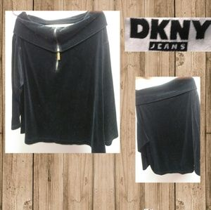 DKNY Jeans Velvety Off Shoulder Zip Up Sweater